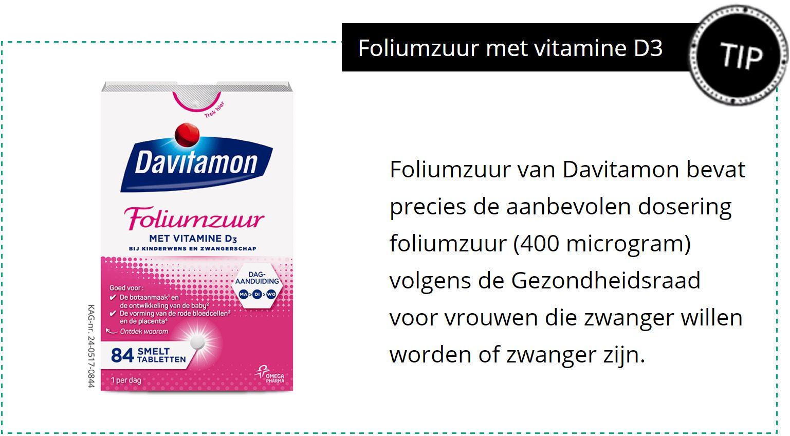 Foliumzuur met vitamine d3