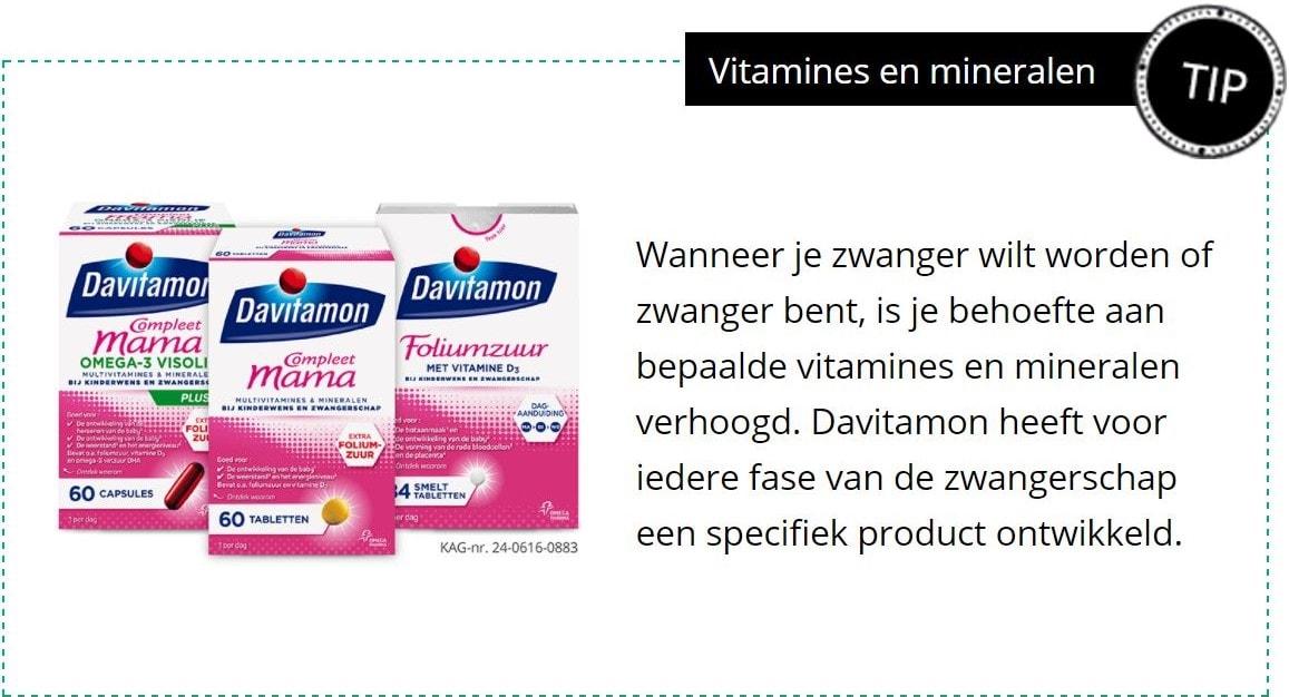 vitamines en mineralen tijdens de zwangerschap
