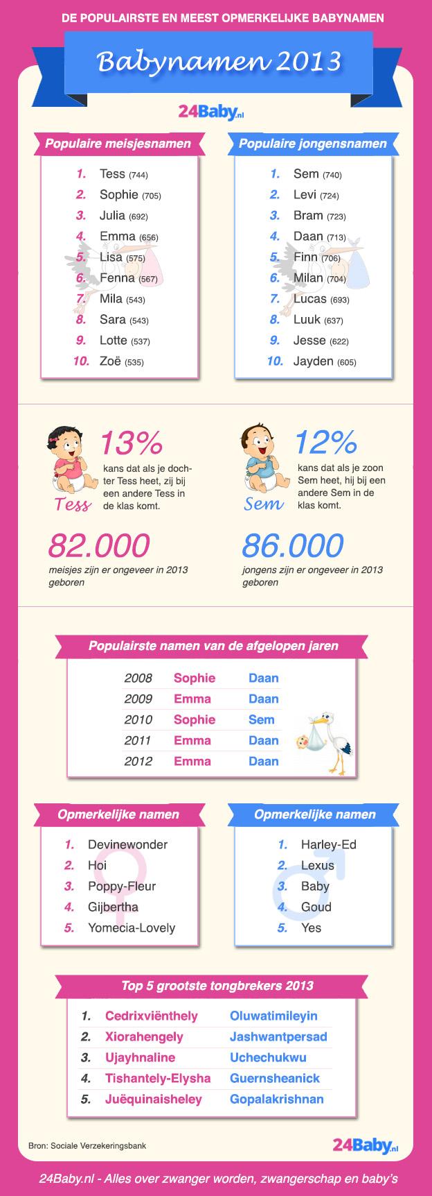 Babynamen 2013 infographic - 24Baby.nl