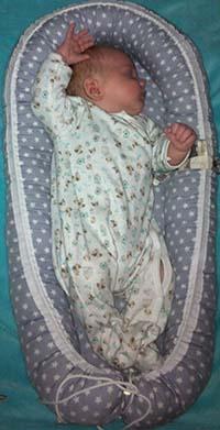 Een baby slaap in een NiNi babysleeper