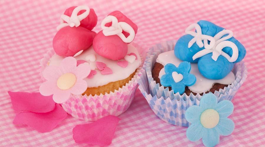 Babyshower hapjes - cupcakes in babystijl