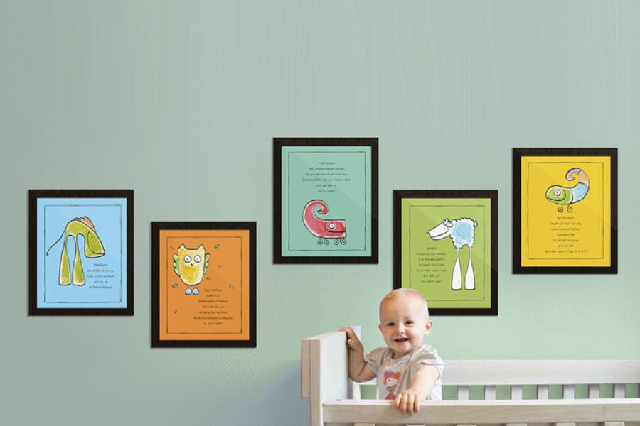 Een babykamer ingericht met Ellis Kids posters