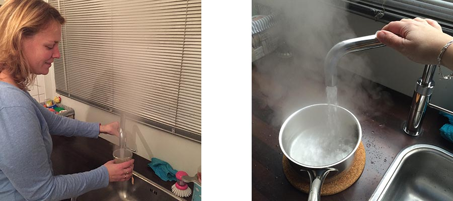 Mieke zet een kop thee en vult een pan met kokend water