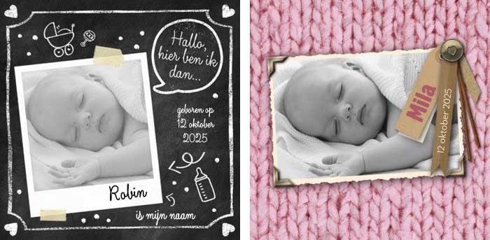 Voorbeelden van geboortekaartjes met de foto van een baby