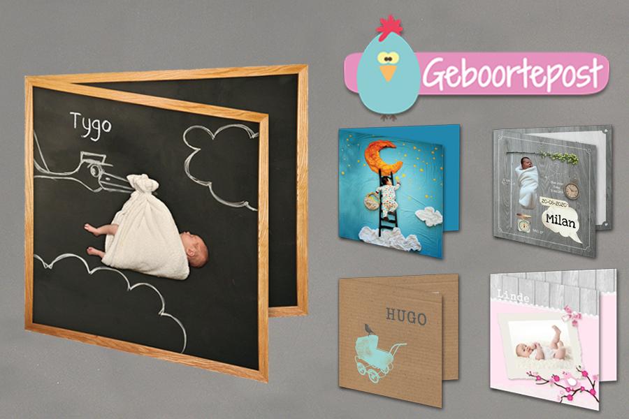 Verschillende geboortekaartjes van geboortepost.nl