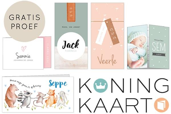 Geboortekaartjes Koningkaart gratis proefdruk