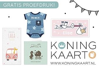 Koningkaart geboortekaartjes met gratis proefdruk