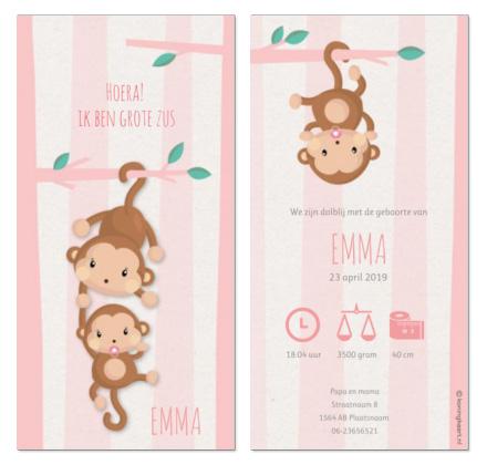 geboortekaartje met aapjes