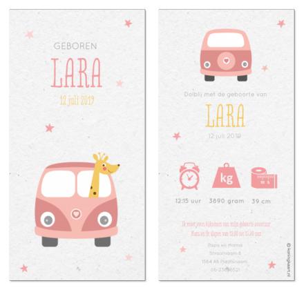 geboortekaartje met giraffe in volkswagenbusje