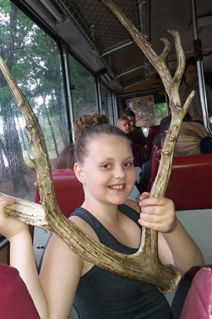 meisje houdt gewei vast in safaripark