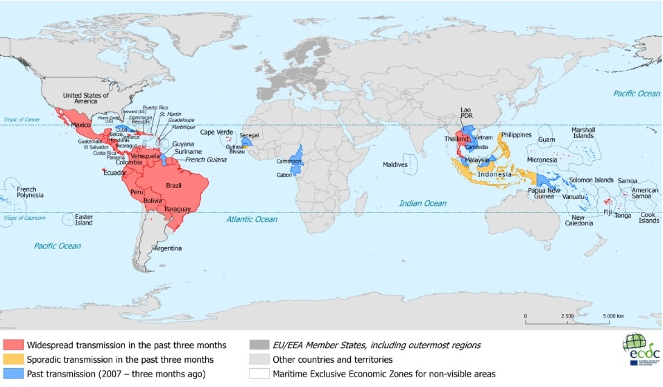 landen waar zika-virus heerst