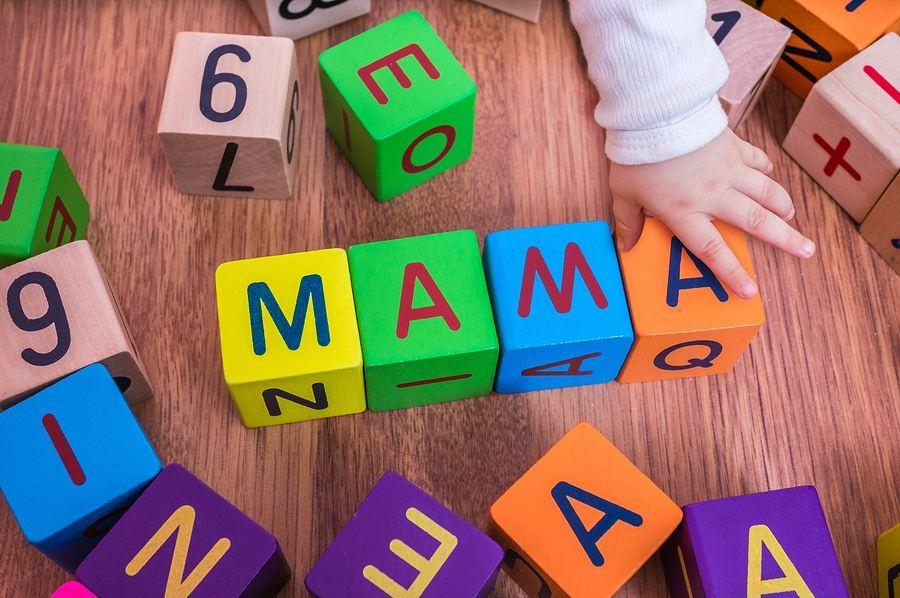 Baby's eerste woordjes in blokken