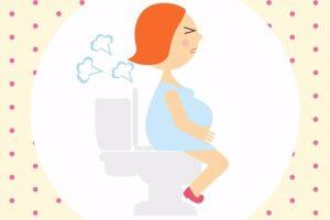 Cartoon zwangere vrouw met obstipatie