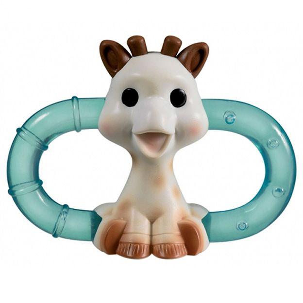 Baby-van-18-weken-oud,-koelbijtring-Sophie-de-Giraf
