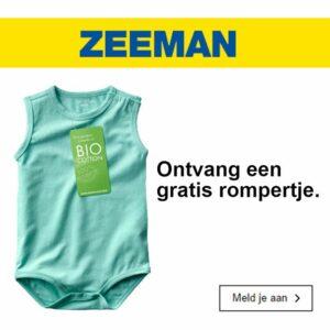Tip baby 15 weken oud, gratis rompertje Zeeman aanvragen