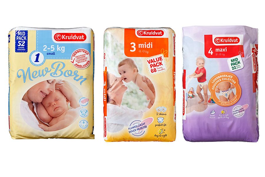 Pakken Kruidvat Luiers in de maten Newborn 1 Midi 3 en Maxi 4