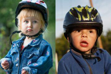 Links een fietshelm die niet goed gedragen wordt en rechts een helm die wel goed wordt gedragen