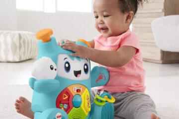 baby speelt muziek spelletjes met Fisher-Price Beats RockIt