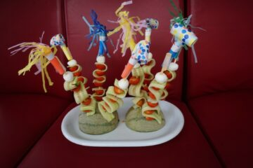 kindertraktatie groentefeest met meloen en feesttoeters