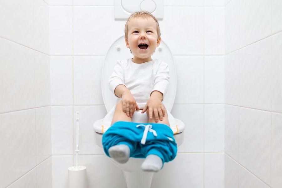 Peuter zit op de wc bezig met zindelijkheidstraining