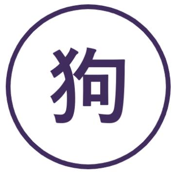 Teken voor het jaar van de Hond in de Chinese horoscoop