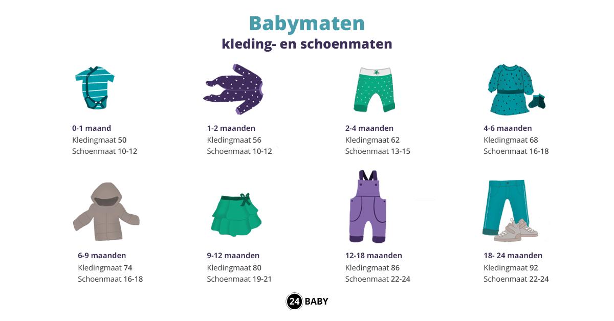 Babymaten – van kledingmaat tot schoenmaat – 24Baby.nl